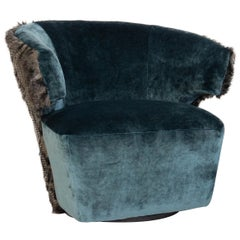 Modern Swivel Chair with Velvet & Faux Owl Feather