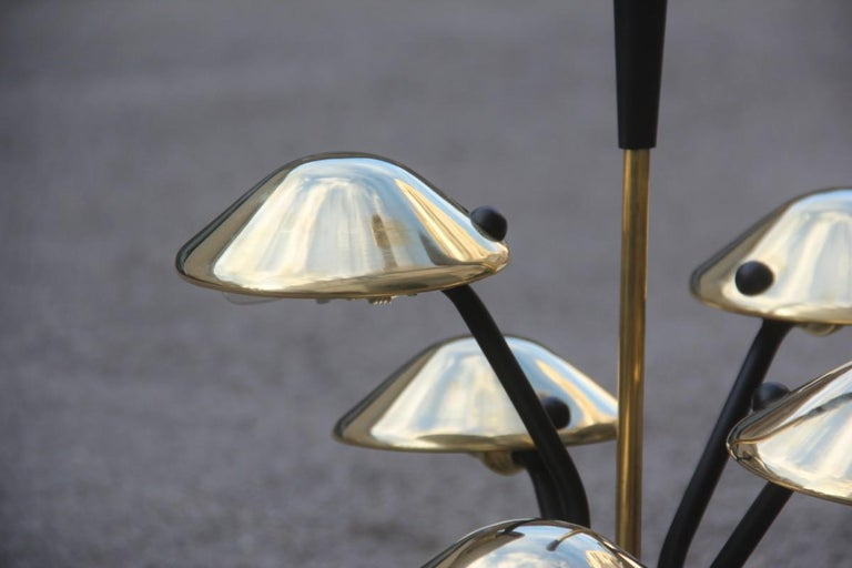 Modern Table Lamp Black and Gold Brass Many Mushroom Inspired Midcentury For Sale 7