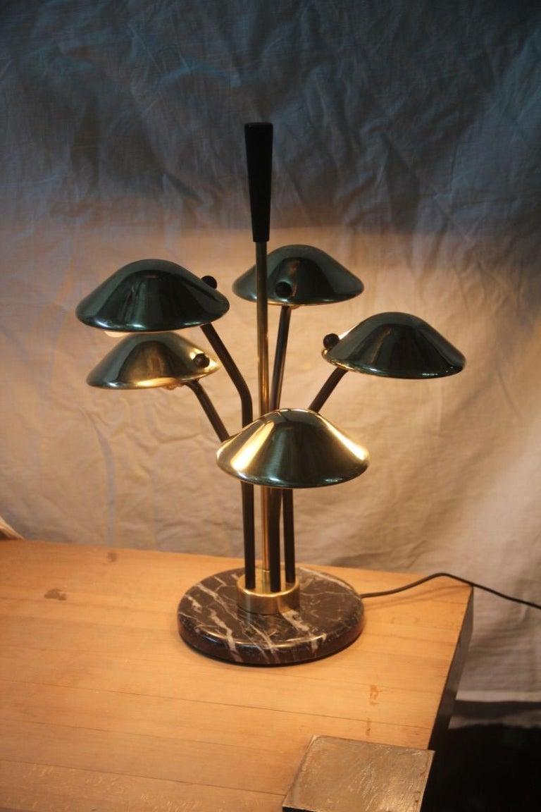 Italian Modern Table Lamp Black and Gold Brass Many Mushroom Inspired Midcentury For Sale
