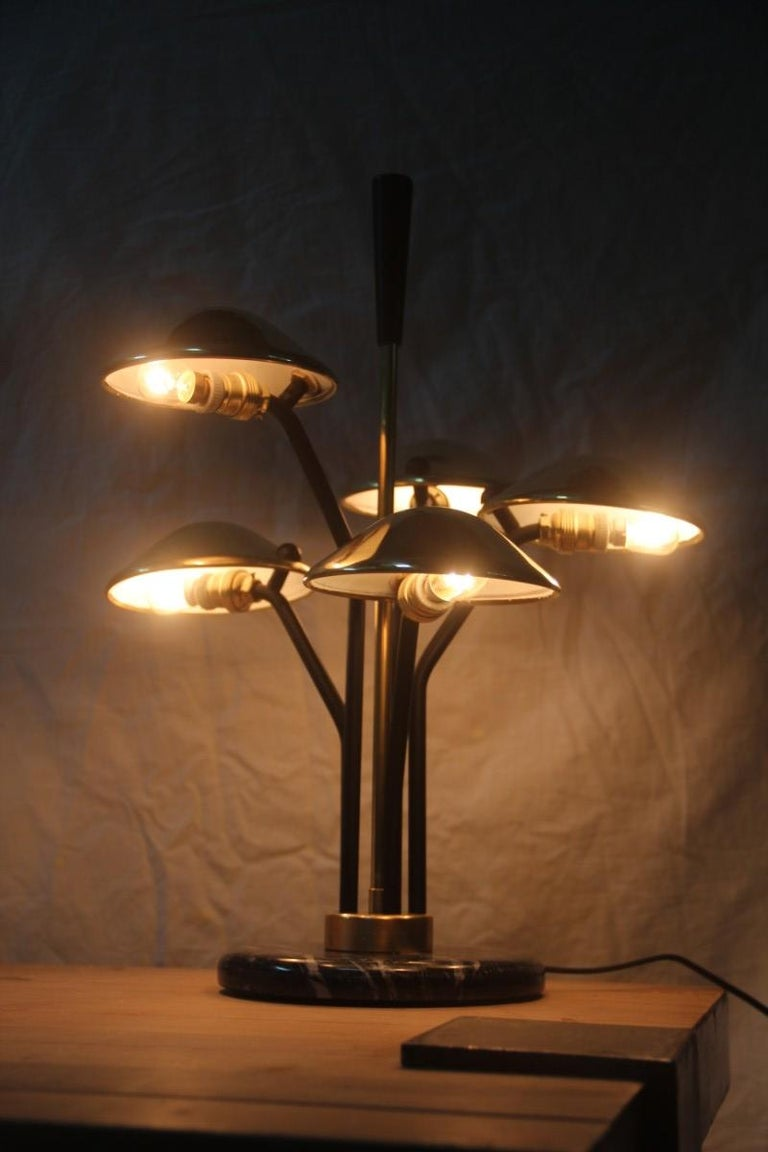 Modern Table Lamp Black and Gold Brass Many Mushroom Inspired Midcentury In Excellent Condition For Sale In Palermo, Sicily