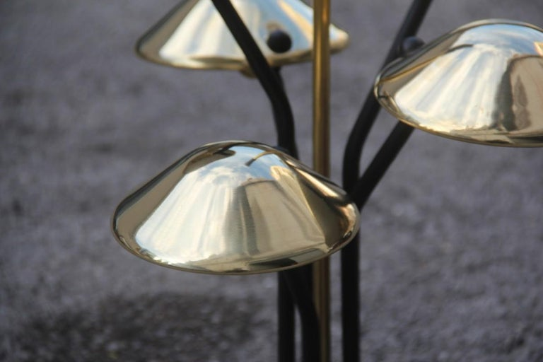 Modern Table Lamp Black and Gold Brass Many Mushroom Inspired Midcentury For Sale 2