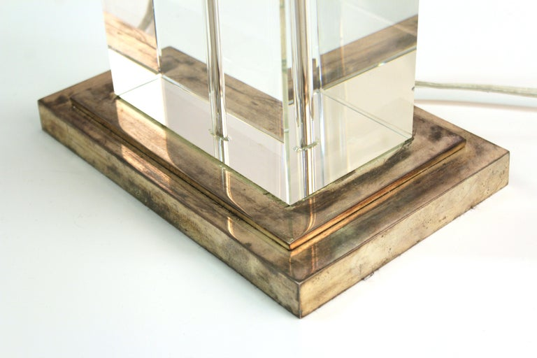 20th Century Modern Table Lamp in Chrome and Clear Glass For Sale