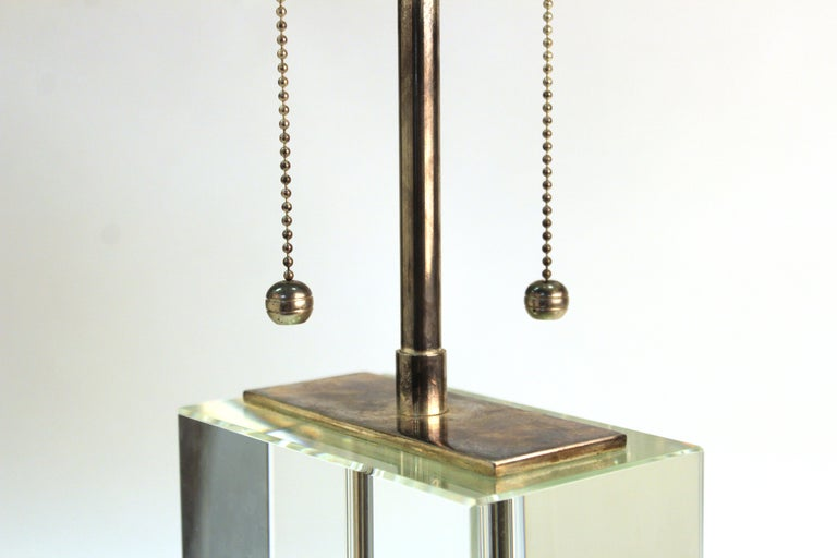 Modern Table Lamp in Chrome and Clear Glass For Sale 1