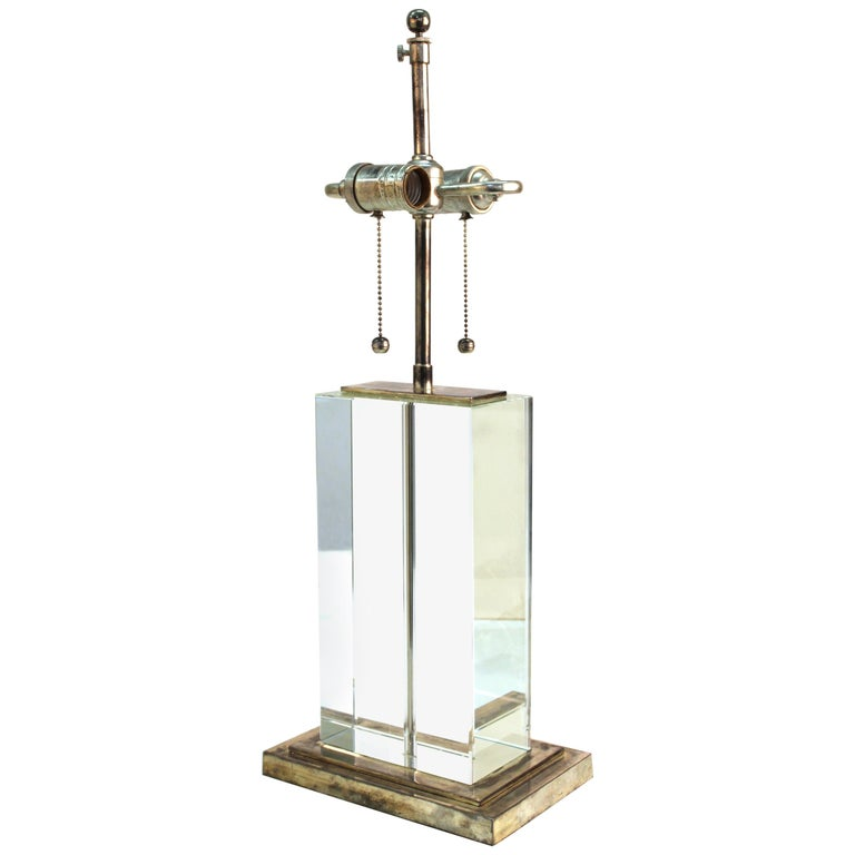 Modern Table Lamp in Chrome and Clear Glass For Sale