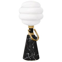 Art Deco Style Table Lamp in Negro Marquina Black Marble & Gold Details