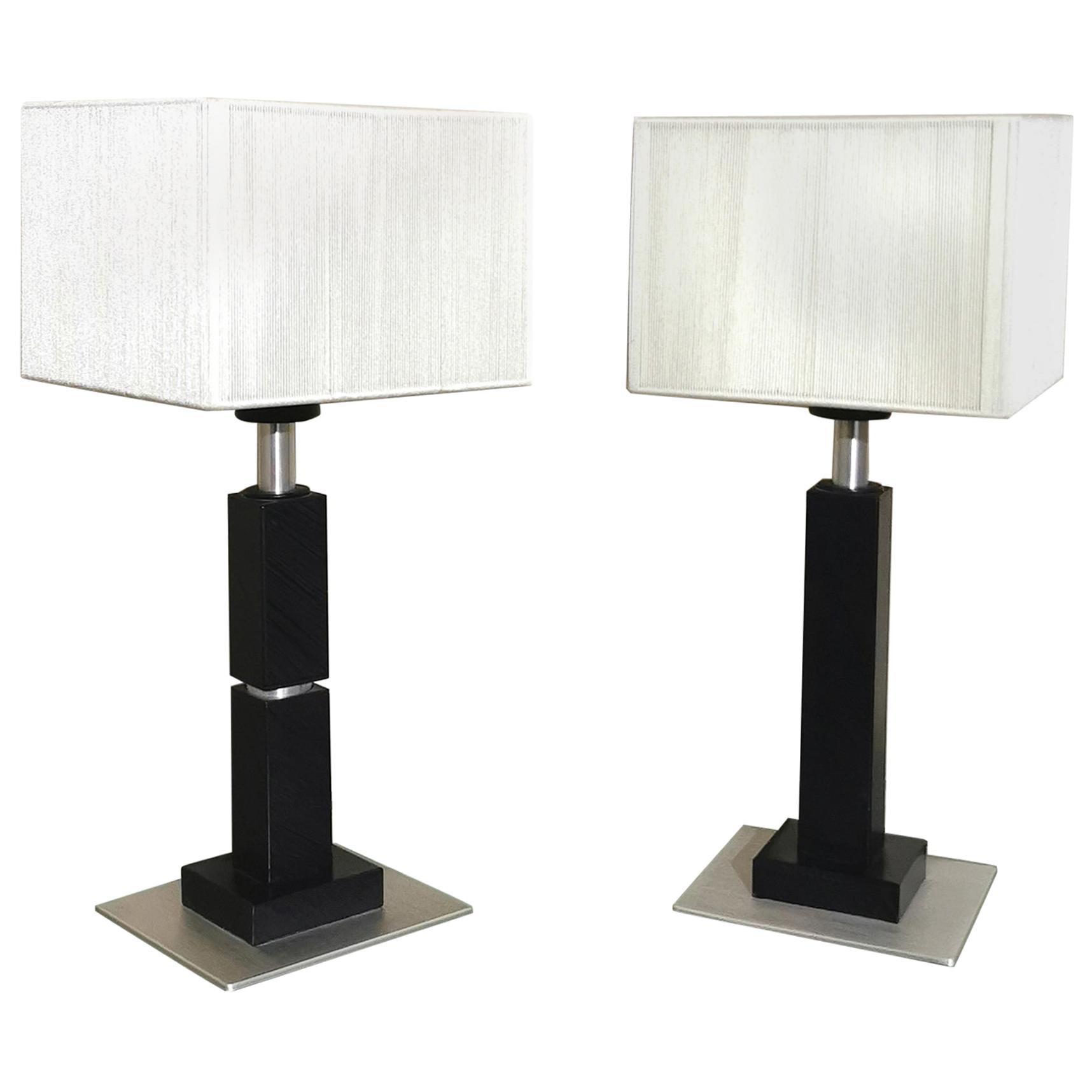 Table Lamps  Black Enameled Metal Aluminum Silk  Italian Design 1990s