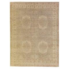 Modern Tabriz Persian Handmade Medallion Pattern Beige Wool Rug