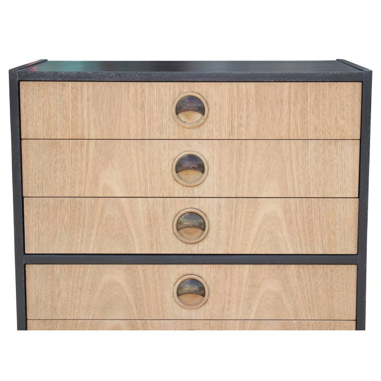 Mid-Century Modern Modern Tall Two-Tone Cerused Finish Chest of Drawers and Brass Handles For Sale