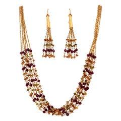 Modern Tanishq 22k Gold 31.31 Gram Necklace Earring Set Natural Colored Garnet