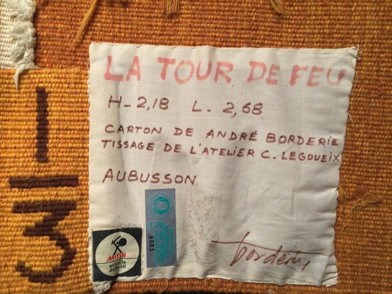Hand-Woven Modern Tapestry designed by André Borderie, La Tour de Feu For Sale