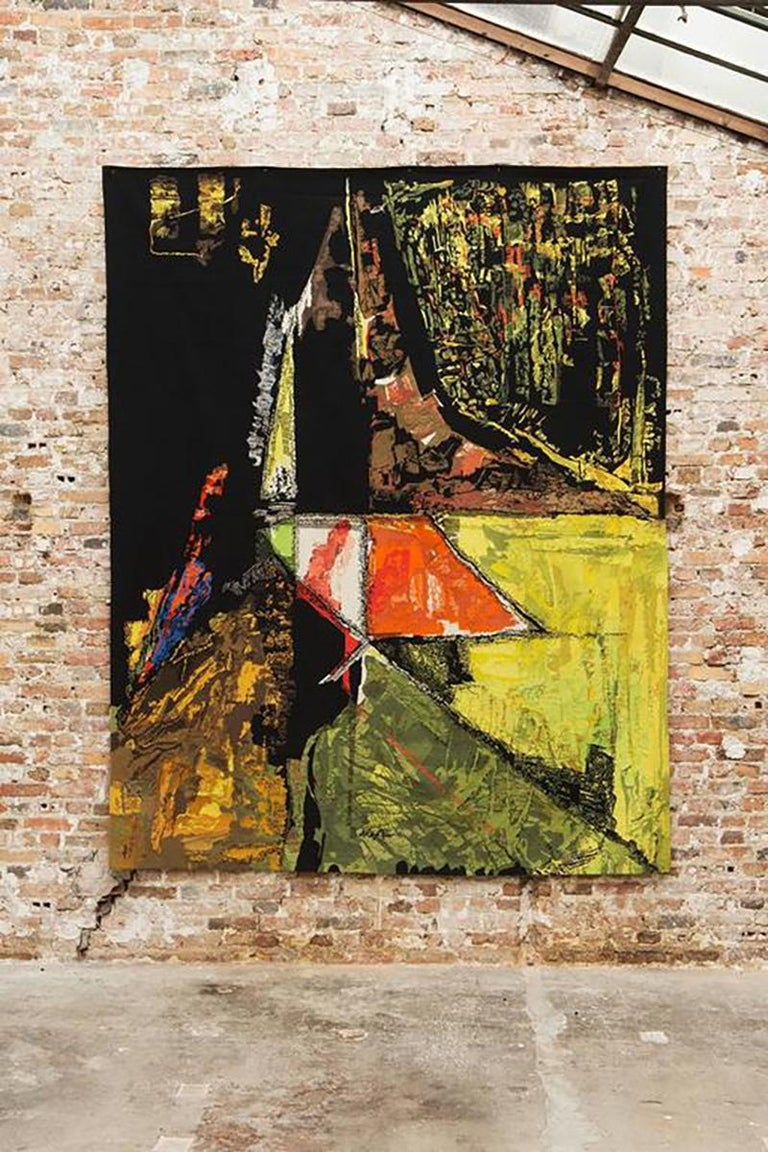 """Mathieu Matégot (Hungary,1910 - 2001)  Title: Le Sommet Signed """"Metégot"""" and numbered """"1/6"""" Wool tapestry handwoven by Atelier Pinton, Aubusson Measures: 305 x 250 cm Edition: 1/6 circa 1970.  Hungarian-French designer and tapestry maker"""