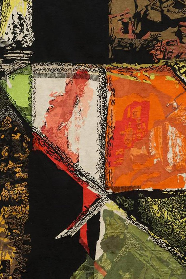 French Modern Tapestry Designed by Mathieu Matégot, Le Sommet, orange, black, yellow For Sale