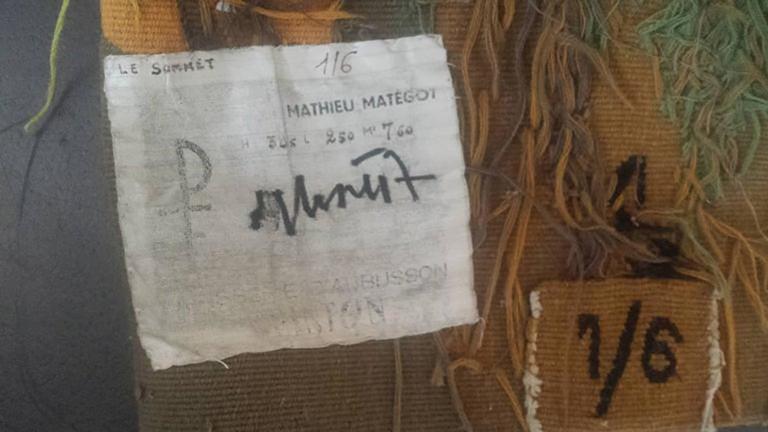 Modern Tapestry Designed by Mathieu Matégot, Le Sommet, orange, black, yellow In Excellent Condition For Sale In Paris, Ile de France