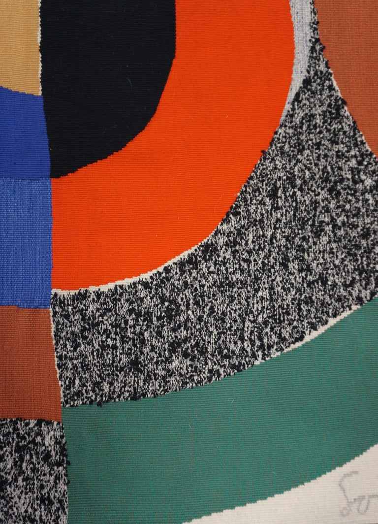 Sonia Delaunay (France, 1885-1979)  Title: Hippocampe Wool tapestry handwoven by Atelier Pierre Daquin (Atelier Saint-Cyr) Measures: 240 x 181 cm; 94.5 x 71.3 in;  Unique piece (confirmed by Mr. Pierre Daquin) circa 1970  Sonia Delaunay is widely