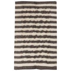 Modern Taurus Collection Creamy White and Dark Gray Striped Handwoven Wool Rug