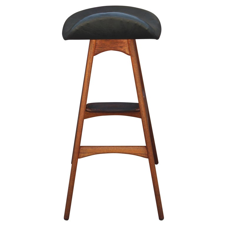 Mid-20th Century Modern Teak and Rosewood Bar Stool by Erik Buck for Odense Møbler OD61 For Sale