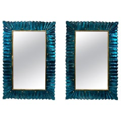 Modern Teal Colored Murano Glass Mirrors