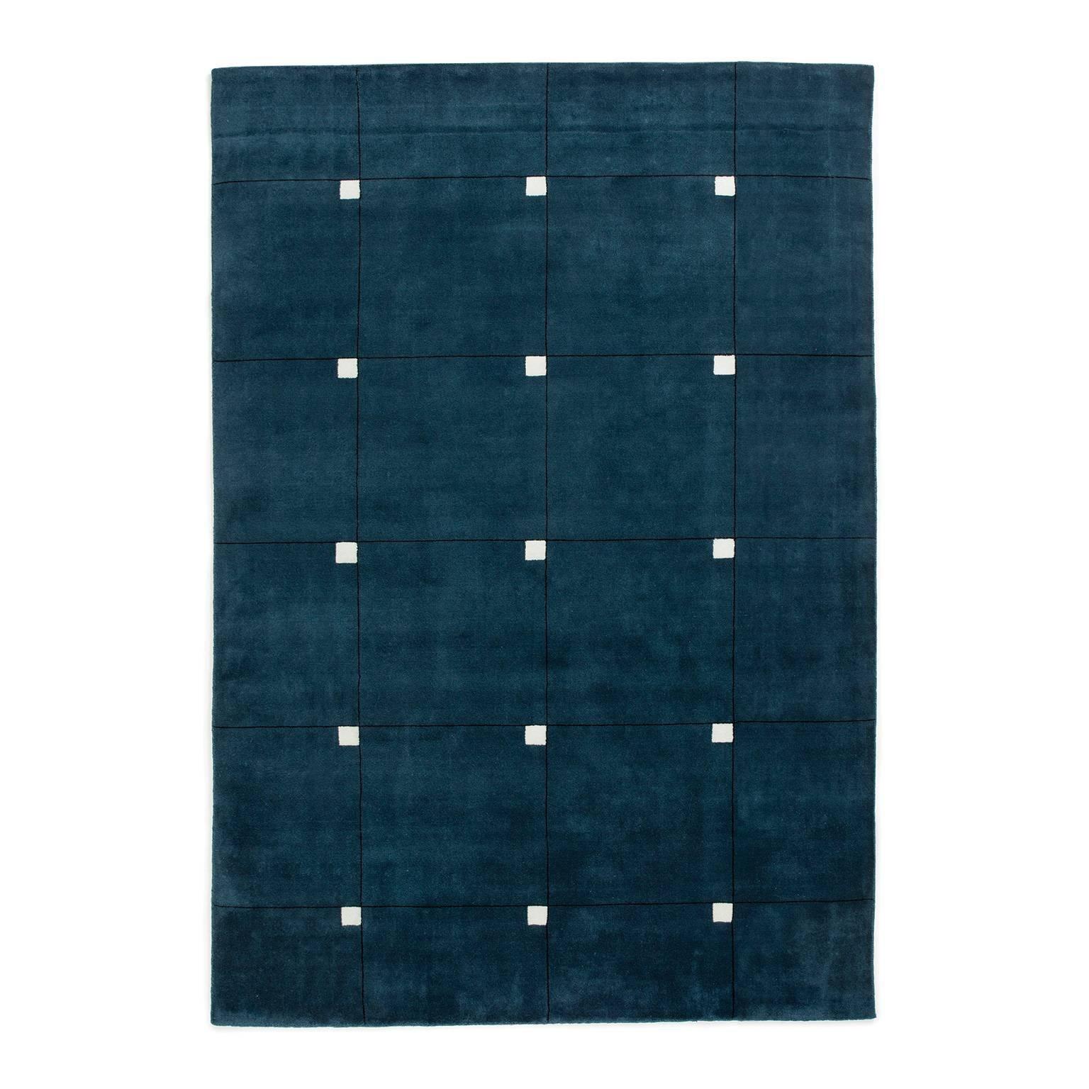 Modern Teal, Wool Cut Pile Rug in Scandinavian Design
