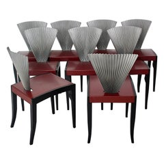 Modern Ten Beech Leather Metal Red Black Silver Vintage Dining Chairs Italy 1980