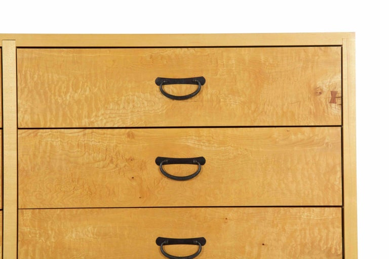 Modern Ten-Drawer Cherrywood and Figured Maple Chest Dresser by Craig Yamamoto In Good Condition For Sale In Shippensburg, PA