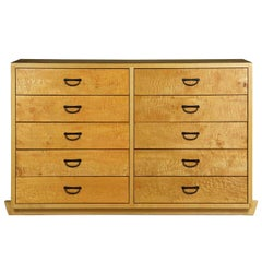 Modern Ten-Drawer Cherrywood and Figured Maple Chest Dresser by Craig Yamamoto