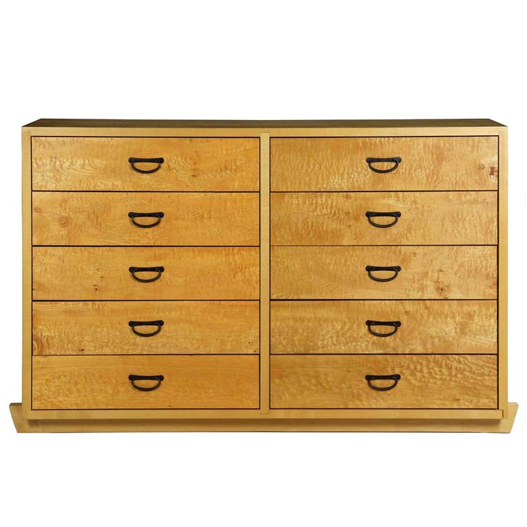 Modern Ten-Drawer Cherrywood and Figured Maple Chest Dresser by Craig Yamamoto For Sale