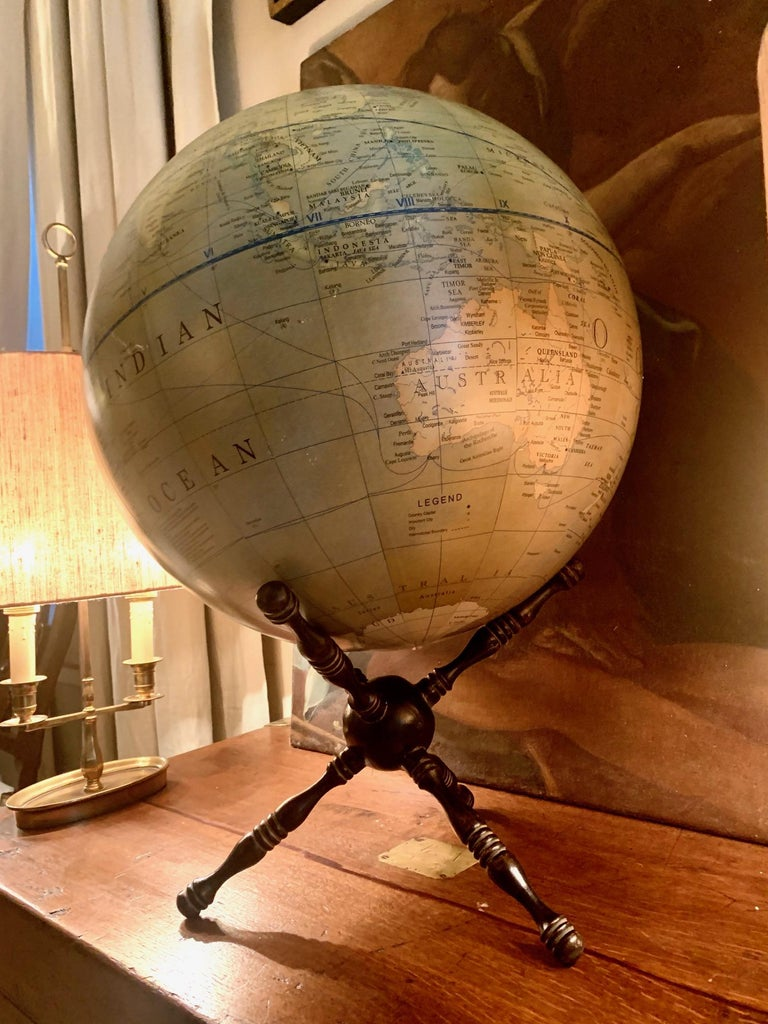 Modern Terrestrial Globe Wood Tripod Base For Sale 4