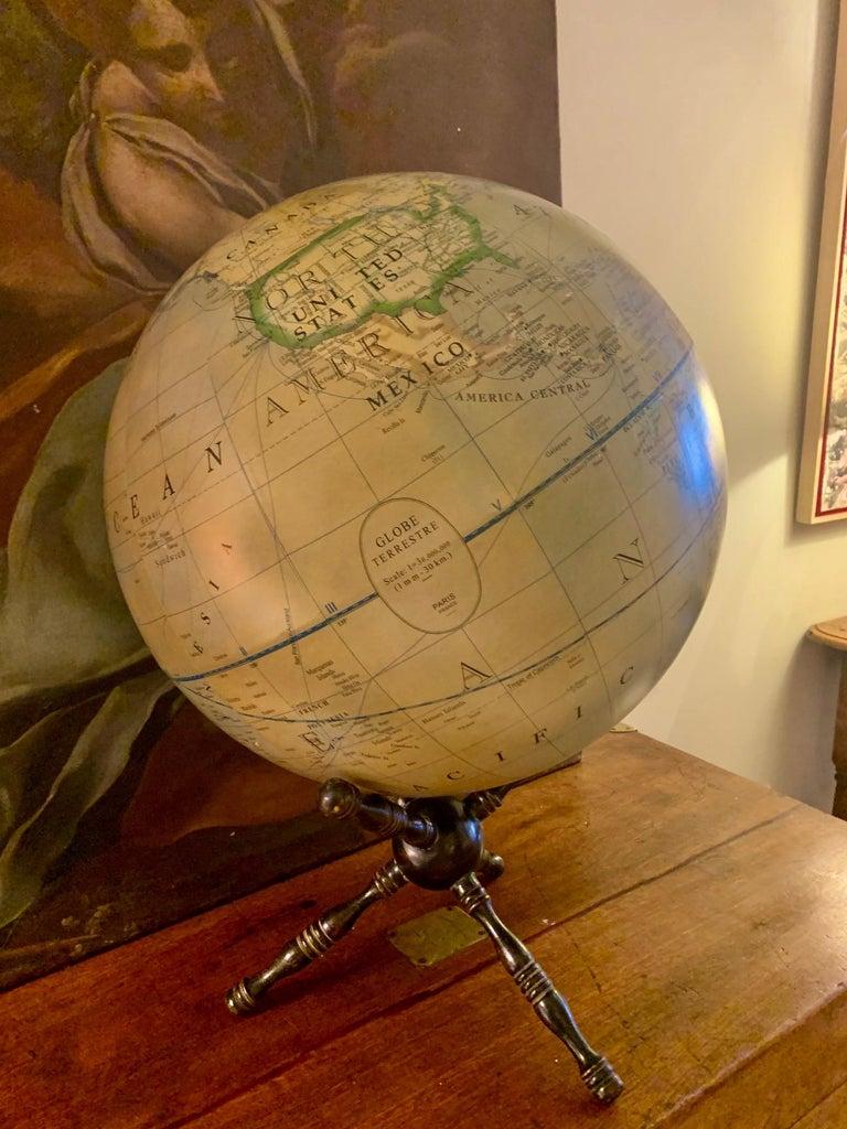 Modern Terrestrial Globe Wood Tripod Base For Sale 9