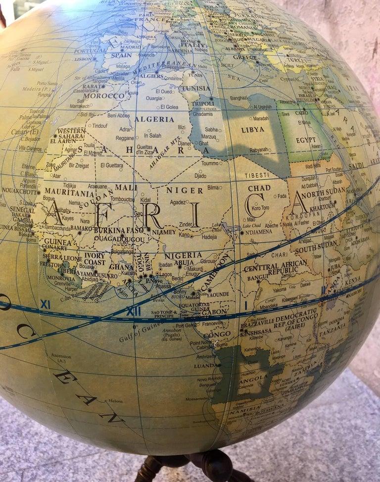 Ebonized Modern Terrestrial Globe Wood Tripod Base For Sale