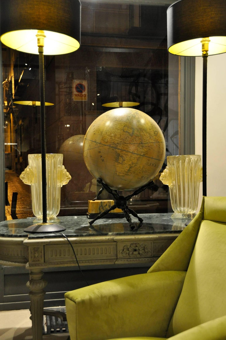 Contemporary Modern Terrestrial Globe Wood Tripod Base For Sale