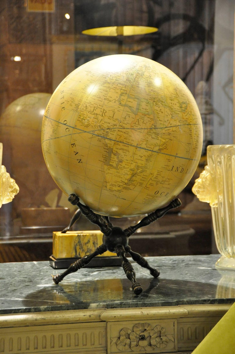 Modern Terrestrial Globe Wood Tripod Base For Sale 1