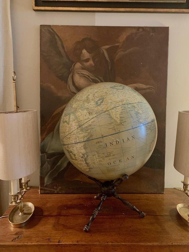 Modern Terrestrial Globe Wood Tripod Base For Sale 2