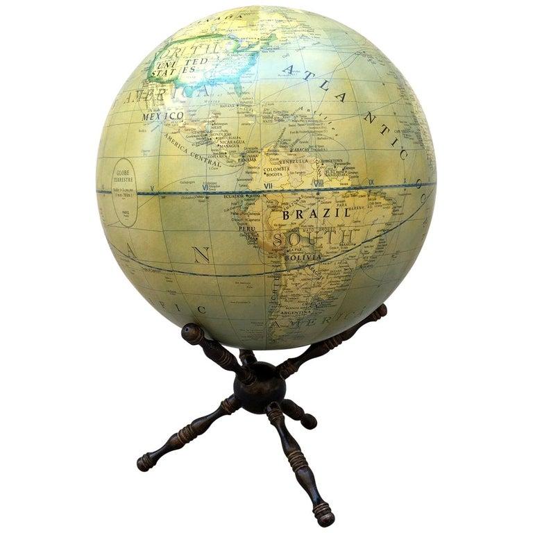 Modern Terrestrial Globe Wood Tripod Base For Sale