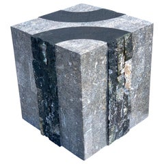 Modern Tessellated Stone Cube/ Side Table by Oggetti, Italy