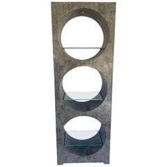 Modern Tessellated Stone Monolithic Bookcase / Vitrine