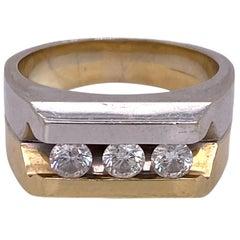 Modern Three Diamond Two-Tone Gold Men's Band Ring Wedding Anniversary