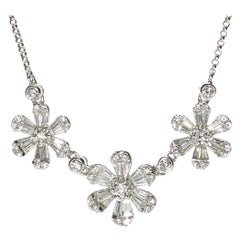 Modern Three Flower Diamond and White Gold Necklace