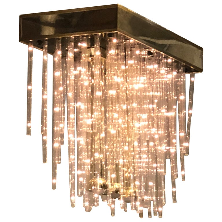 Modern Three-Light Chandelier Flush Mount Separate Switch for Three Bulbs For Sale