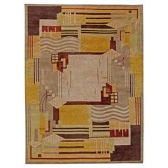 21st Century Tibetan Geometric Rug in White, Beige, Taupe, Mauve and Yellow