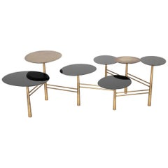 Modern Tiered Adjustable Bronze and Enameled Coffee Table