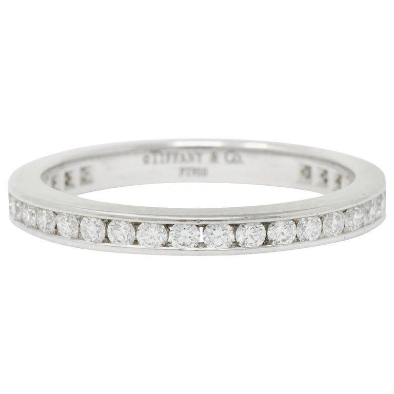 Modern Tiffany & Co. 0.75 Carat Diamond Platinum Eternity Stacking Ring For Sale