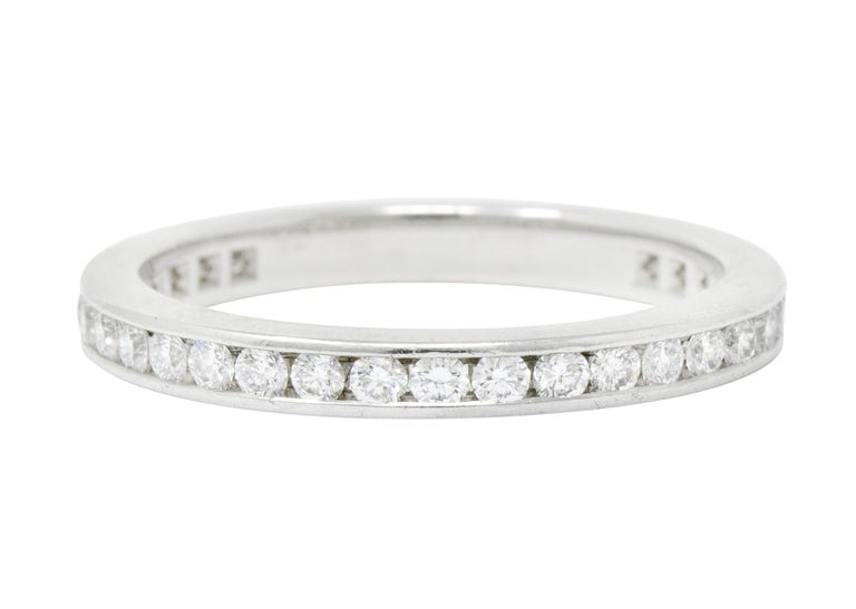 Round Cut Modern Tiffany & Co. 0.75 Carat Diamond Platinum Eternity Stacking Ring For Sale