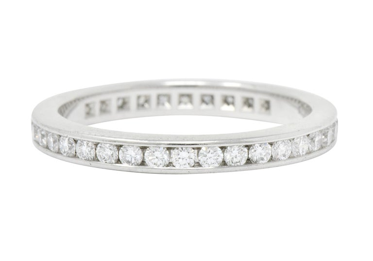 Modern Tiffany & Co. 0.75 Carat Diamond Platinum Eternity Stacking Ring In Excellent Condition For Sale In Philadelphia, PA