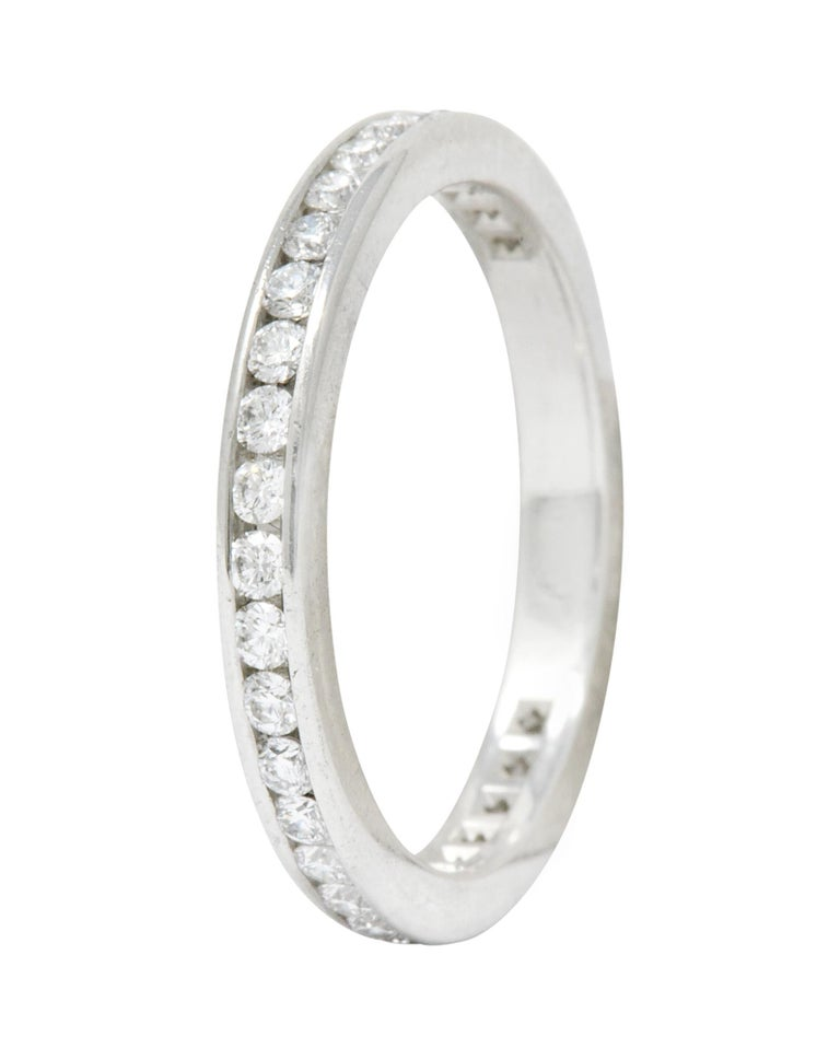 Modern Tiffany & Co. 0.75 Carat Diamond Platinum Eternity Stacking Ring For Sale 2