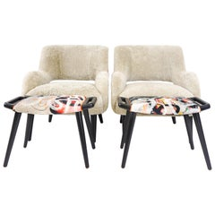 Modern Tight Seat Club Chair in Shearling and Graffiti Print and Lacquer Legs