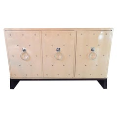 Modern Tommi Parzinger Three-Door Studded Lacquered Cabinet, Commode, Credenza