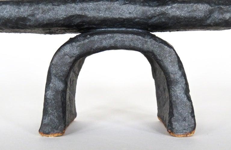 Modern TOTEM in Metallic Black Glaze, Handbuilt Ceramic Stoneware For Sale 8