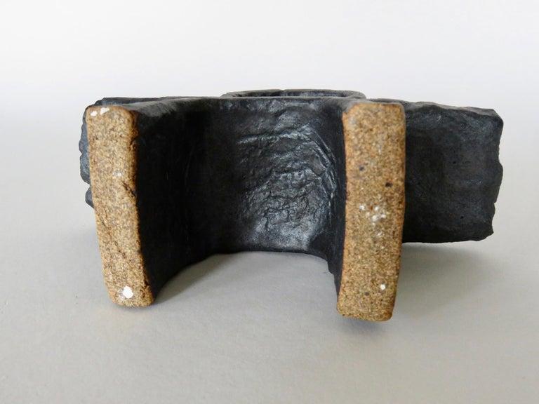 Modern TOTEM in Metallic Black Glaze, Handbuilt Ceramic Stoneware For Sale 5
