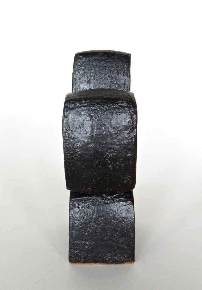 American Modern TOTEM, Metallic Black Ceramic Sculpture with Rings, Handbuilt For Sale