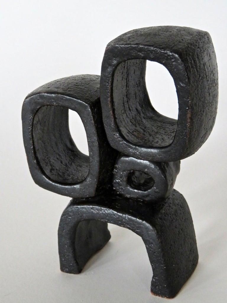 Stoneware Modern TOTEM, Metallic Black Ceramic Sculpture with Rings, Handbuilt For Sale